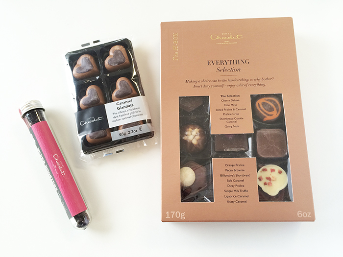 The H Box (Everything Selection), Caramel Gianduia e Super Boosters (75% dark)