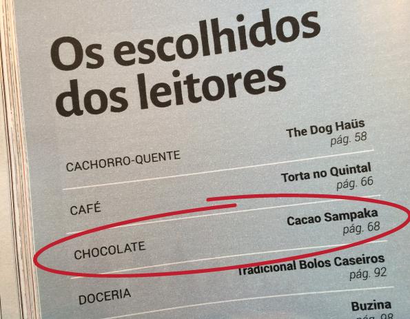 Veja Come & Beber -  Chocolates 2014 escolhido dos leitores