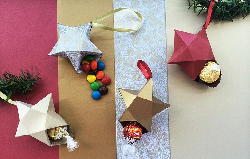 estrelas de Natal com chocolate dentro