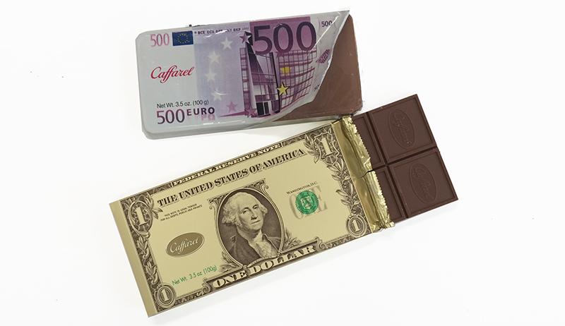 Caffarel Euro e Dolar - dinheiro de chocolate