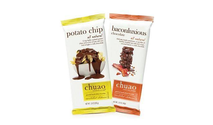 Chuao chocolates com batata chips e com bacon