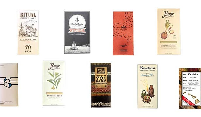 alguns dos chocolates premiados no Good Food Awards 2016