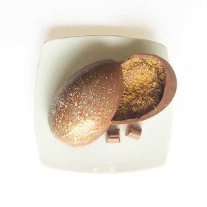 Gallette Ovo e páscoa chocolate ao leite e casca recheada caramelo, macadâmia e coco queimado