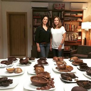 Zelia Frangioni e Luciana Lobo degustam ovos de Pascoa 2016