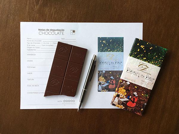 Ficha de degustação de chocolates com foto impressa