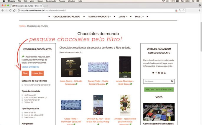 página Chocolates do mundo