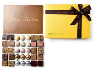 Cau Chocolates Yellow Box com placa de Boas Festas