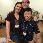 Zelia Frangioni, Greg D'Alesandre e Pearl Wong no meeting da FCIA em SP