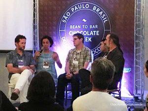 painel de discussão no Bean to Bar Chocolate Week 2018