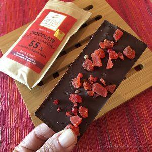 chocolate da Cuore di Cacao com morango e pimenta