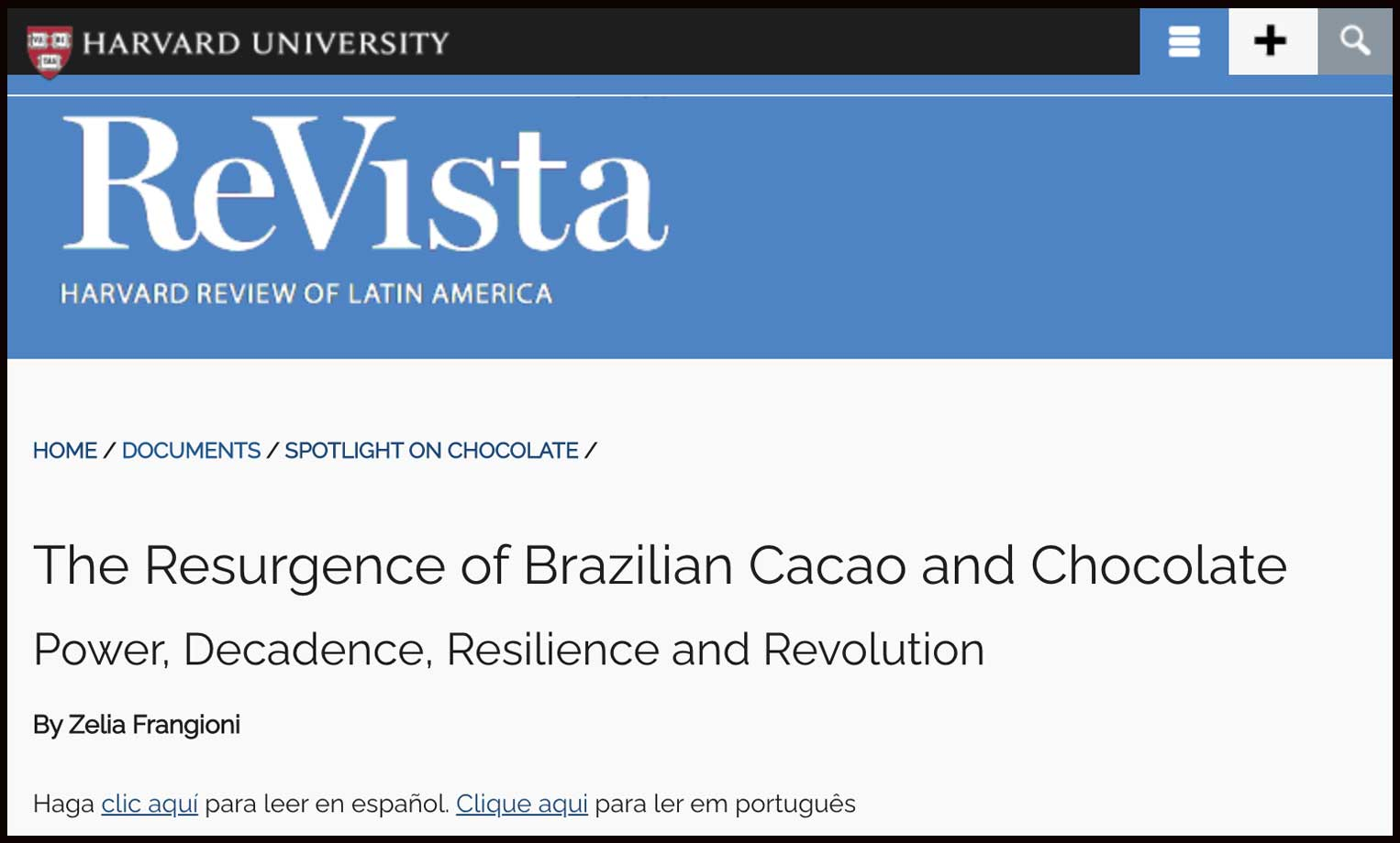 A história do cacau e chocolate do Brasil na ReVista Harvard Review of Latin America